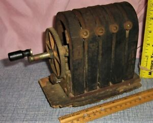 Antique 5 Bar Magneto Hand Crank Telephone Generator Vtg Steam Punk Look