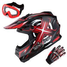 1Storm Adult Motocross Helmet Motorcross MX BMX Bike Racing Red+Gloves+Goggles