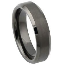 Edge Wedding Fashion Band Engraving 5-15 Tungsten Ring Gun Metal Brushed beveled