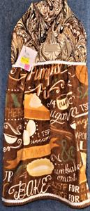 "**NEW** Handmade ""Pumpkin Pie Time!"" Hanging Kitchen Hand Towel #2772"