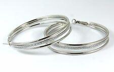 Women's Silver Plated Large Triple Hoop Earrings Jewellery