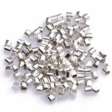 500pcs HQ Silver/Gold/Black/Bronze Plated Tube Crimp End Beads 1.5mm