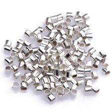 1000pcs Wholesale Silver/Gold/Black/Bronze Plated Tube Crimp End Beads 1.5mm