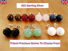 925 Sterling Silver - Semi-Precious Gemstones Round Stud Earrings 7-8mm Size