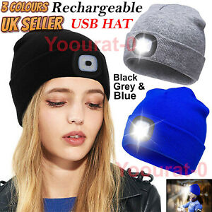 Rechargeable LED Beanie Light Hat USB Battery Thin Insulate Warm Material Winter