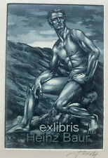 Jens RUSCH (D) Blue Man Nude Male exlibris signed Etching Radierung
