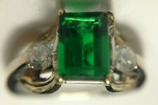 Lab emerald and diamond ring, 14K TT gold,#15165