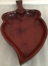 "Vtg 15"" Chic Dish Leaf Spade Shaped Hand Made Haiti Wood Serving Party Bowl"