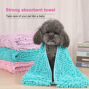 Quick Dry Ultra Absorbent Pet Bath Towels W/Hand Pocket Washable Clean Dog SEL