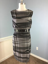 Adrianna Papell 12 P Gray Black Faux Leather Sheath Dress career Cocktail EUC *