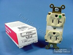 Pass & Seymour Ivory PLUGTAIL HOSPITAL GRADE Receptacle Duplex Outlet PT8300-I