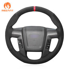 Top Customized Black Soft Suede Steering Wheel Cover Wrap for Ford F150 F-150