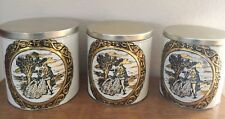 Vintage 3 Piece Decoware Tin Metal Canister Set, Copper with Black Victorian