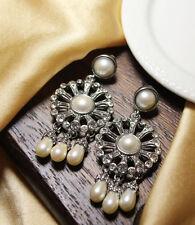 Boucles d'Oreilles Clous Perle Goutte Vintage Ancien Style Chic Cadeau BB 5