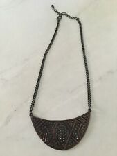 FLASH SALE - Brown And Black Diamond Brass Statement Necklace