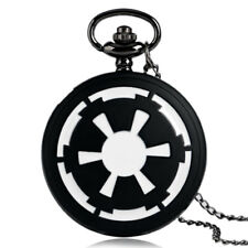 Men Quartz Pocket Watch 80Cm Chain Black Galactic Empire Badge Star Wars Ewok