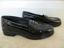 JOHN LEWIS PENNY BLACK LEATHER PATENT MOCCASINS  LOAFER SHOES SIZE 7/40