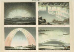 Farbtafel POLARLICHTER / NORDLICHT Original-Lithographie 1889