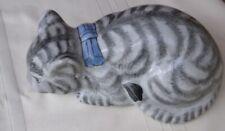 "Laying Tabby Cat Ceramic Figurine, Grey Stripe, Blue Bow, 9"" Long"