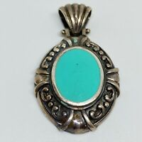 Vintage Sterling Silver 925 Turquoise Inlay Unique Design Pendant