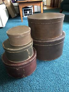 5 Primitive Nesting Hat Boxes Distressed