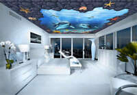 Vague Blue Dolphin 3D Ceiling Mural Full Wall Photo Wallpaper Print Home Decor