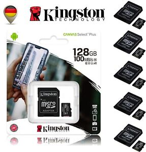 Kingston micro SD Speicherkarte A1 U1 100MB/s 16GB 32GB 64GB 128GB 256GB (4K)