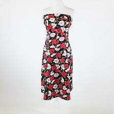 Black pink red floral print stretch cotton blend NOTICE strapless tea dress 10