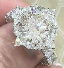Simulated Moissanite Ring_Size 8 & 3/4 Silver 2.18 Carat Gleaming Ideal Cut