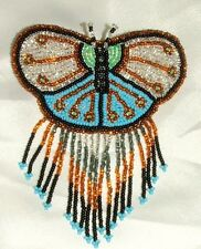 Barrette Beaded Butterfly w Fringe  French clip closure Hair accessory #12