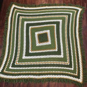 Vintage Olive Green White Mustard Striped Crochet Fringed Throw Blanket 4.5x4.5'