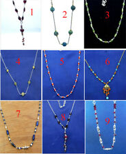Natural Gemstone Handmade Beads Necklace 925 Sterling Silver Jewelry MN3606