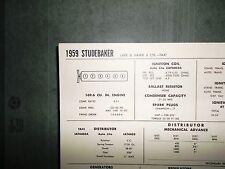 1959 Studebaker SIX Series Taxi, Lark & Hawk Models 169.6 CI L6 Tune Up Chart