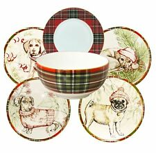 Wexford Puppies Porcelain Christmas Holiday Dinnerware Set (12 pc.)