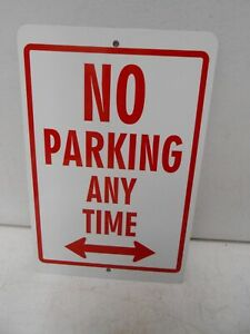 """Metal Sign No Parking Anytime LEFT RIGHT Arrow 8"""" x 12"""" Red on White 8X12 8 X 12"""