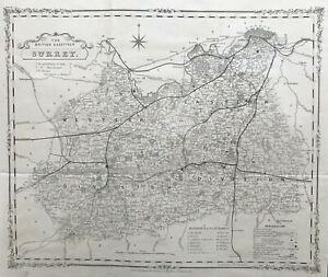 1852 Antique Map of Surrey - Robert Rowe / H.G. Collins British Gazetteer