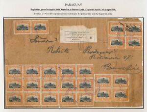 1907 PARAGUAY RARE FRONT OF CLASSIC COVER TO ARGENTINA, 27p PARCEL WRAPPER, RRR!