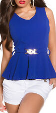 Blue peplum top with gold belt one size 8 10 12 smart sexy top