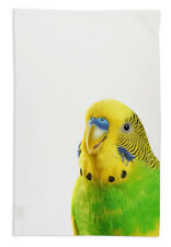 NEW Budgie Face Australian Native Bird Tea Towel Organic Cotton White