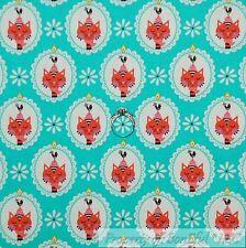BonEful Fabric FQ Cotton Quilt Aqua Blue Pink White Cat Rooster Medallion Flower