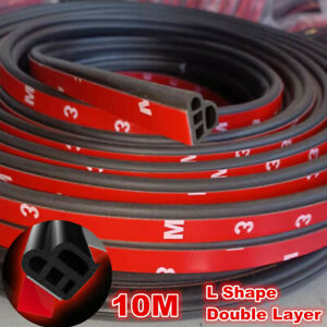 Car Accessories L Shape Sealing Strip Weatherstrip Rubber Moulding Universal 10M