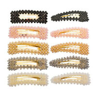 New Fashion Women Crystal Hair Clip Slide Snap Barrette Hairpin Hair Accessories
