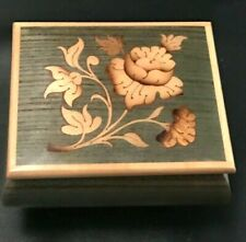 """Vintage Reuge Music Box Green Floral Wood """"Till The End Of Time"""" Made in Italy"""