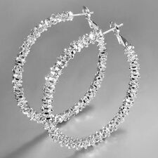 "Luxury Women Jewelry Silver Plated ""Stars"" Hoop Dangle Earring Girl Fashion Gift"