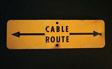 ~Man Cave~ Vintage Bell System Telephone Cable Route Warning Metal Yellow Sign~