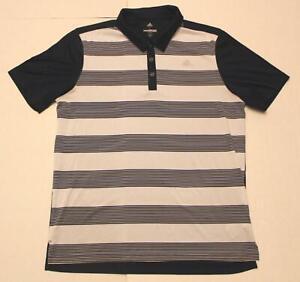 Adidas Men's Short Sleeve Striped Logo Front Golf Polo Tee FR7 Navy/White Large
