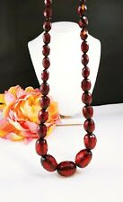 "75g Vintage 35"" Victorian Red Cherry Amber Faceted Bead Necklace LARGE BEADS"