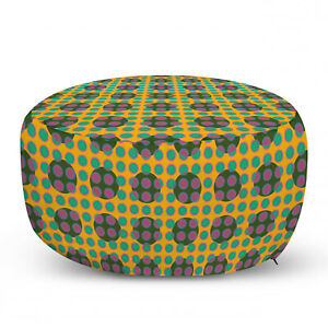 Ambesonne Geometric Modern Ottoman Pouf Decor Soft Foot Rest & Removable Cover