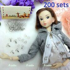 Bjd Dollfie Dress Diy Material Metal Mini Hook & Eye Closing Set Silver (200pcs)