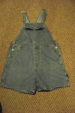 womens vTg honors faded medium wash denim jeans bib overalls shorts size large